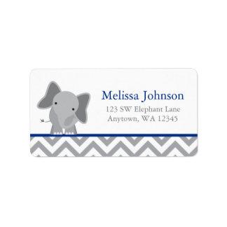 Cute Elephant Chevron Navy Blue Label