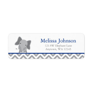 Cute Elephant Chevron Navy Blue Label