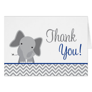 Cute Elephant Chevron Navy Blue Thank You Card