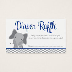 Cute Elephant Chevron Navy Diaper Raffle Ticket at Zazzle