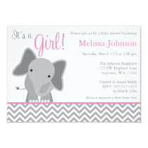 Cute Elephant Chevron Pink Baby Shower Invitation