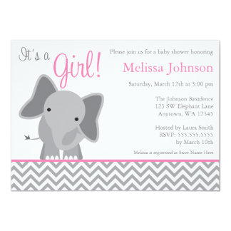 Cute Elephant Chevron Pink Baby Shower Invitation