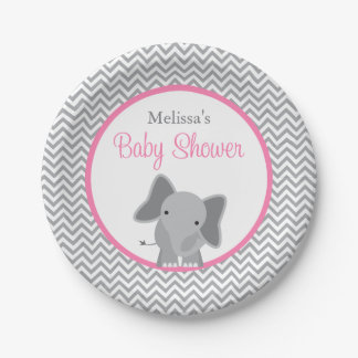 Cute Elephant Chevron Pink Baby Shower Paper Plate