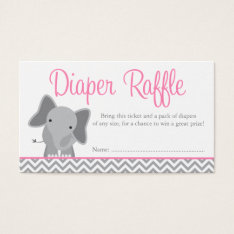 Cute Elephant Chevron Pink Diaper Raffle Ticket at Zazzle