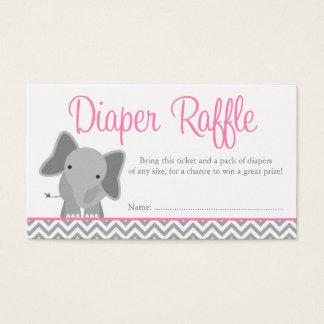 Cute Elephant Chevron Pink Diaper Raffle Ticket