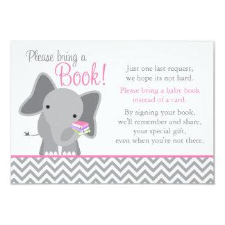 Cute Elephant Chevron Pink Girl Baby Shower Book 3.5x5 Paper Invitation Card
