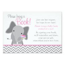 Cute Elephant Chevron Pink Girl Baby Shower Book Invitation