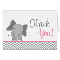 Cute Elephant Chevron Pink Thank You Card