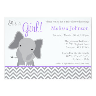 Cute Elephant Chevron Purple Baby Shower Card