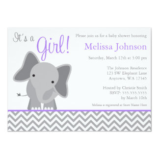 "Cute Elephant Chevron Purple Baby Shower 4.5"" X 6.25"" Invitation Card"