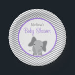 "Cute Elephant Chevron Purple Baby Shower Paper Plate<br><div class=""desc"">Modern gray and purple elephant themed baby shower paper plates. Perfect for a little girl baby shower. Easily personalize!</div>"
