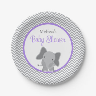 Cute Elephant Chevron Purple Baby Shower Paper Plate