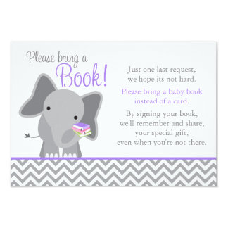 Cute Elephant Chevron Purple Girl Baby Shower Book Card