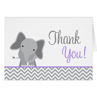 Cute Elephant Chevron Purple Thank You Card