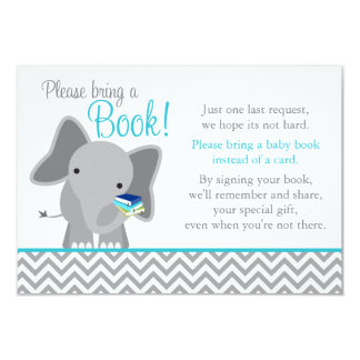 Cute Elephant Chevron Teal Baby Shower Book Card