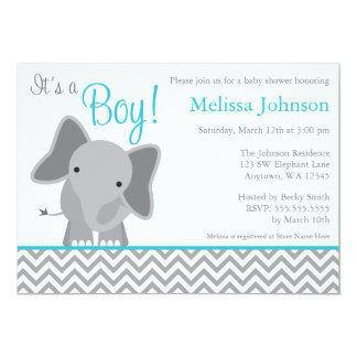Cute Elephant Chevron Teal Baby Shower Invitation