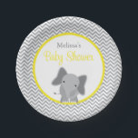 "Cute Elephant Chevron Yellow Baby Shower Paper Plate<br><div class=""desc"">Modern gray and yellow elephant themed baby shower paper plates. So cute for a gender neutral baby shower.</div>"