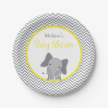 Cute Elephant Chevron Yellow Baby Shower Paper Plate