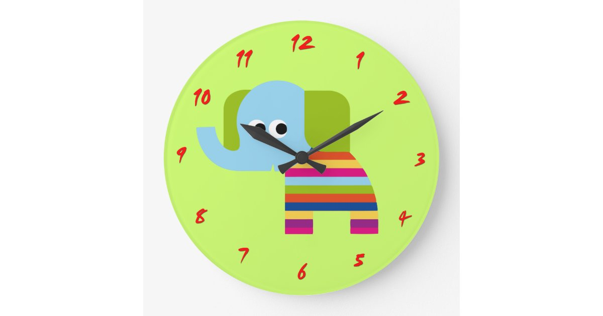 Cute Elephant Clock For Nursery Or Kids Room Zazzle