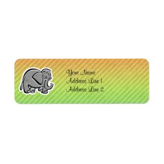 Cute Elephant; Colorful Label