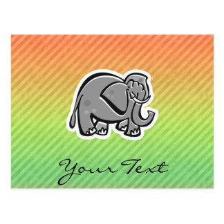 Cute Elephant; Colorful Postcard