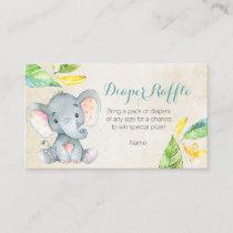 Cute Elephant - Diaper Raffle Card