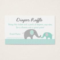 Cute Elephant Diaper Raffle Tickets Mint Green