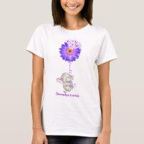 Cute Elephant Faith Love Fibromyalgia Awareness T-Shirt