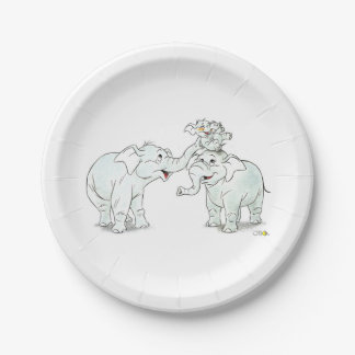 cute elephant family cartoon baby shower 7 inch paper plate