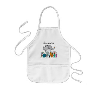 Cute Elephant Fish Scene with Coral Kids' Apron