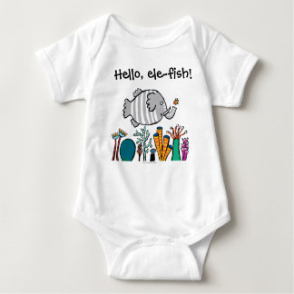 Cute Elephant Fish Scene with Coral Baby Bodysuit