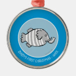 Cute Elephant Fish Scene with Coral Metal Ornament