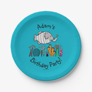 Cute Elephant Fish Scene with Coral Paper Plate