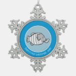 Cute Elephant Fish Scene with Coral Snowflake Pewter Christmas Ornament