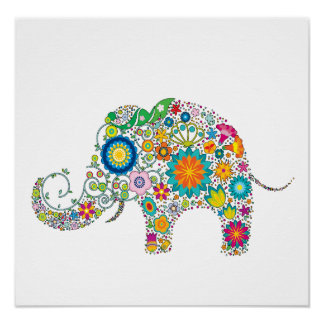 Cute Elephant Floral Pattern - Customizable! Print