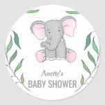 Cute Elephant Forest Leaves Baby Shower Classic Round Sticker