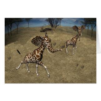 Cute Elephant Giraffes Card