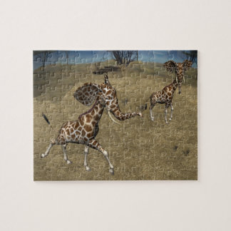 Cute Elephant Giraffes Jigsaw Puzzle