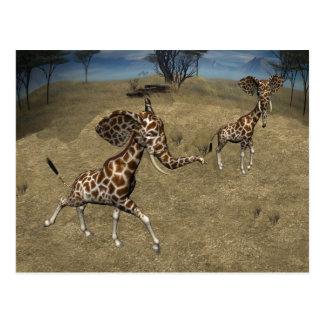 Cute Elephant Giraffes Postcard