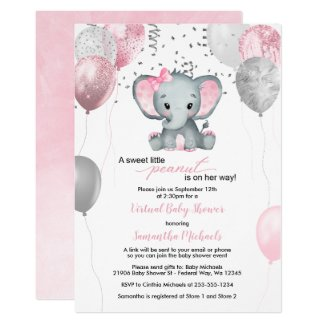 Grey and Pink Elephant Baby Shower Invitations Virtual