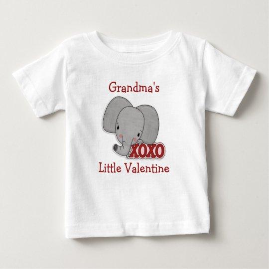 Cute Elephant Grandma's Valentine Baby T-Shirt