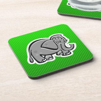 Cute Elephant; Green Drink Coaster