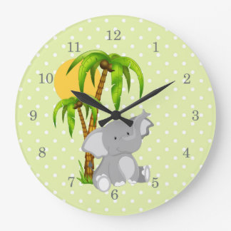 Cute Elephant Green Polka Dots Wall Clocks