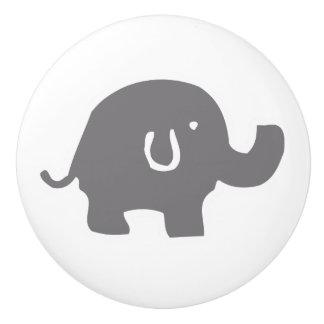 Cute Elephant Grey And White Door Knob Ceramic Knob