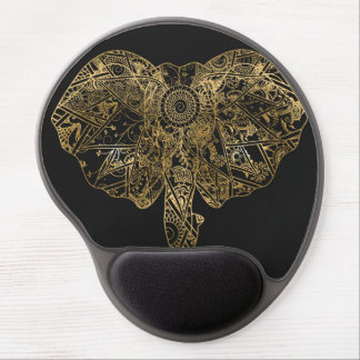 Cute Elephant hand drawn Henna floral Gel Mouse Pad
