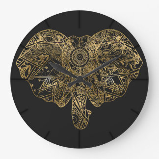 Cute Elephant hand drawn Henna floral Large Clock