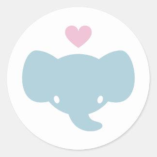 Cute Elephant Heart Graphic Classic Round Sticker