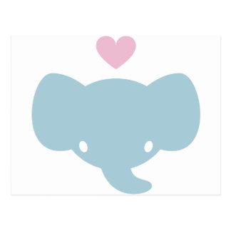 Cute Elephant Heart Graphic Postcard