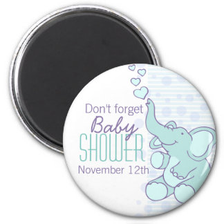 Cute Elephant hearts baby shower magnet