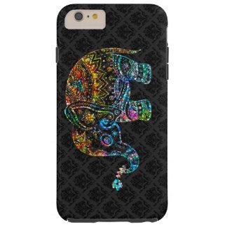 Cute Elephant In Colorful Glitter Black Background Tough iPhone 6 Plus Case